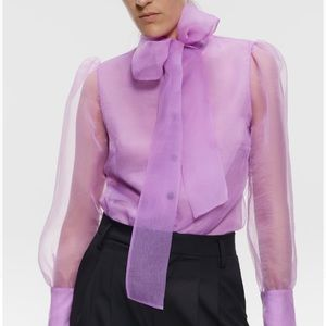 New Organza Semi-Sheer Blouse with Tie